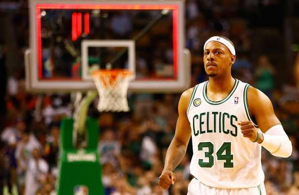 Paul Pierce celebrates after making a shot at