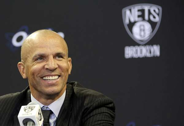 Brooklyn Nets head coach Jason Kidd smiles as