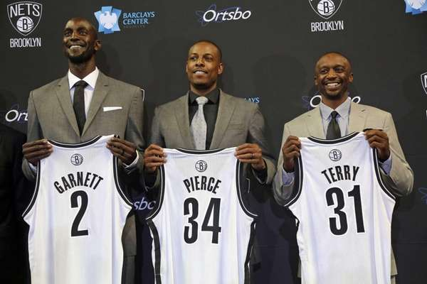 New members of the Brooklyn Nets, from left,