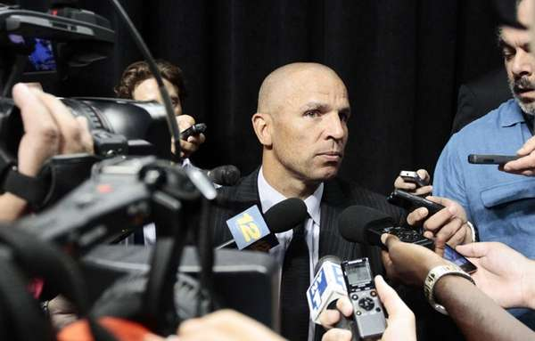 Nets head coach Jason Kidd speaks with reporters