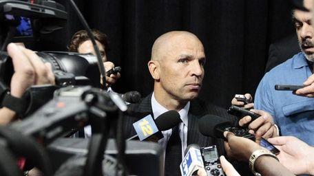 Nets head coach Jason Kidd speaks with reporters