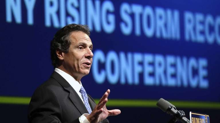 Gov. Andrew Cuomo speaks during his storm recovery