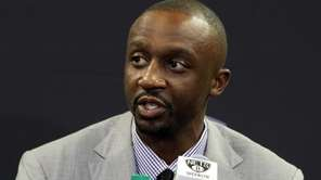New Nets player Jason Terry speaks at a
