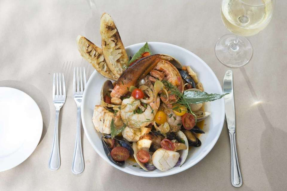The Baymen's stew, a deep bowl of lobster,