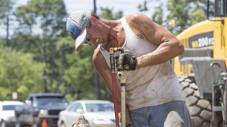 Justin Squires from Roadwork Construction, local 1298, uses