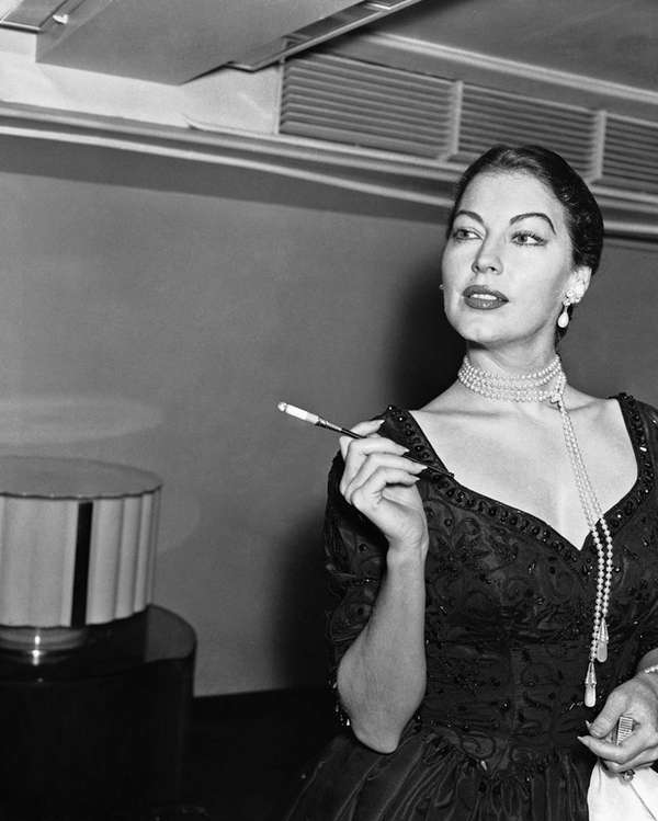 Ava Gardner at the Savoy Hotel, London, in
