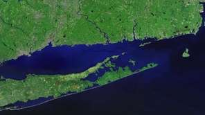 Satellite photo of Long Island east end.