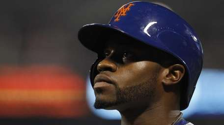 Eric Young Jr. of the Mets reacts after