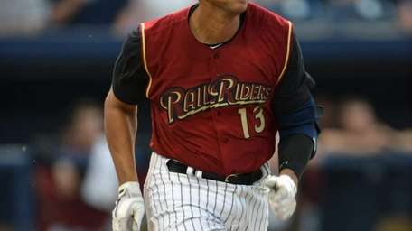 Alex Rodriguez runs out a single while playing