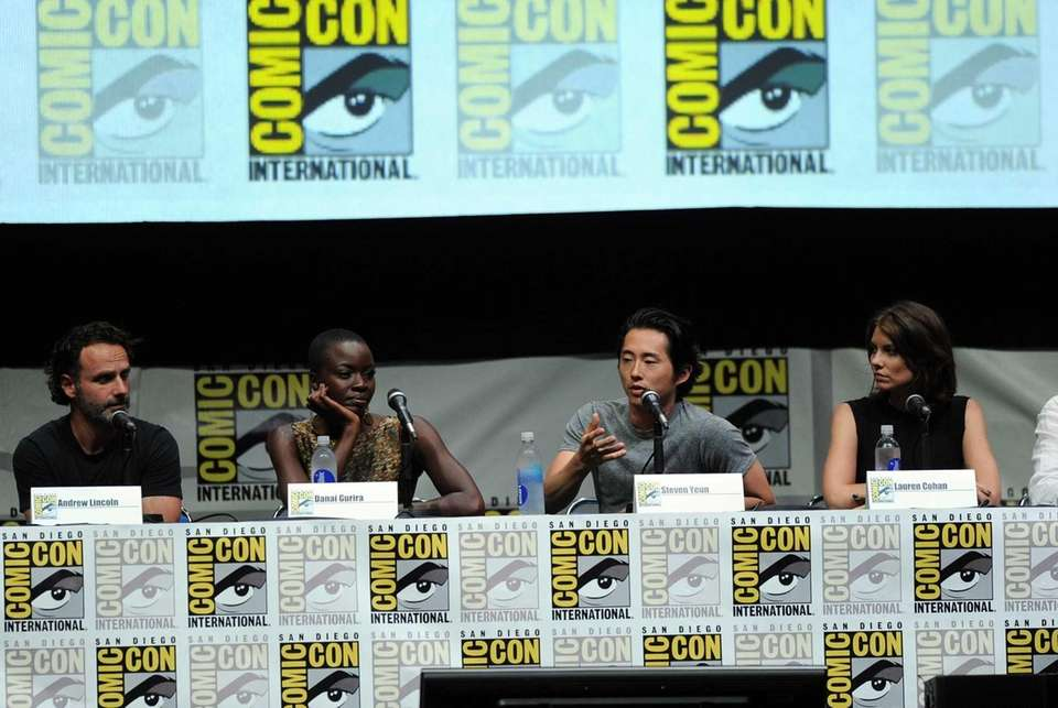 From left, actors Andrew Lincoln, Danai Gurira, Steven