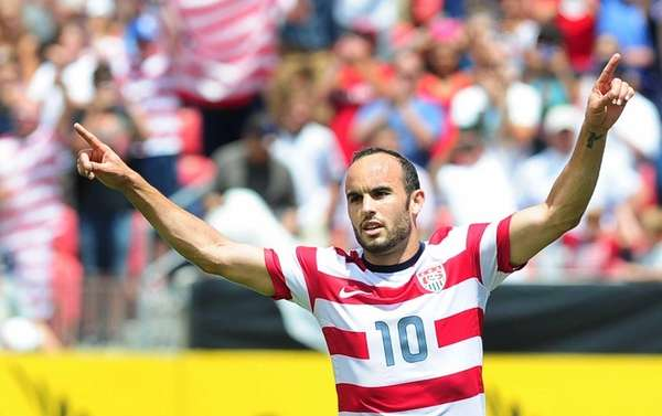 Landon Donovan celebrates his first-half equalizer after scoring