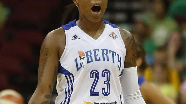 Cappie Pondexter (23) reacts after being called for
