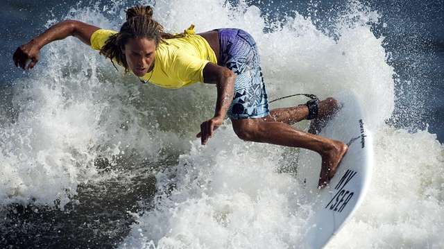 A contestant competes in the NYSEA Surfing contest