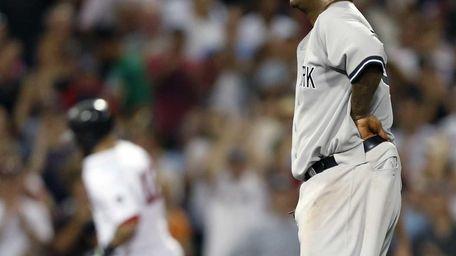 CC Sabathia looks on as Boston Red Sox