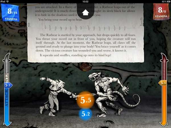 In the app Sorcery!, available for iOS, the