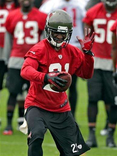 Tampa Bay Buccaneers cornerback Eric Wright reacts after