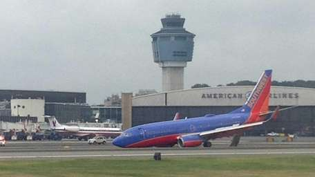 A Southwest Airlines plane at LaGuardia Airport after