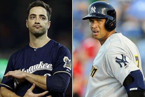 This composite shows Brewers slugger Ryan Braun, left,