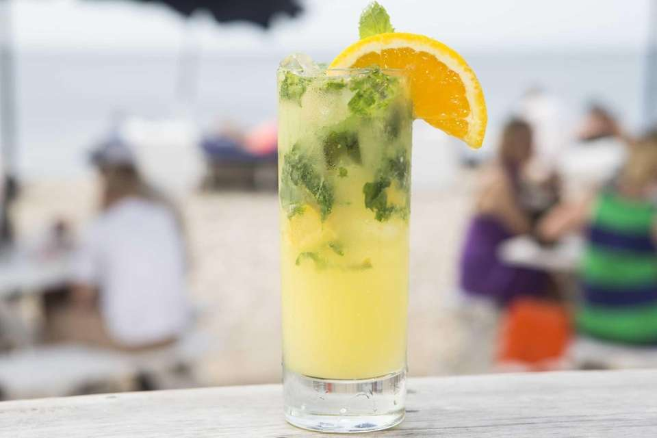 An orange mojito at Navy Beach in Montauk.
