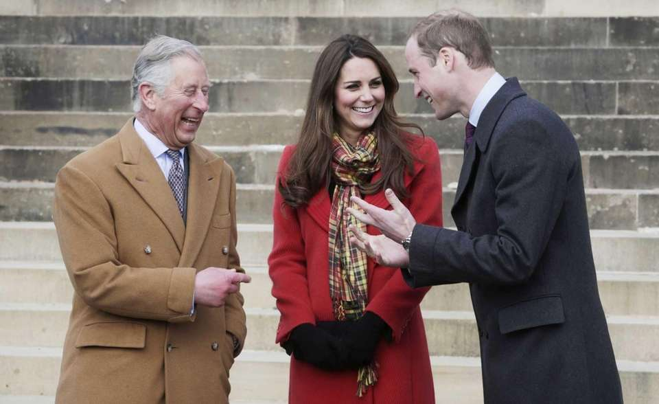 Prince Charles, Kate and Prince William stand together