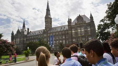 Prospective students tour Georgetown University earlier this month.