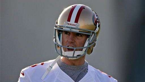 San Francisco 49ers kicker Billy Cundiff looks on