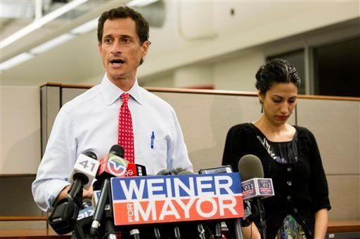 New York mayoral candidate Anthony Weiner speaks during
