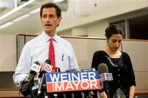 New York mayoral candidate Anthony Weiner speaks during