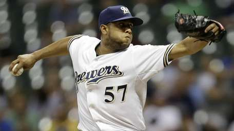 The Milwaukee Brewers' Francisco Rodriguez delivers a pitch