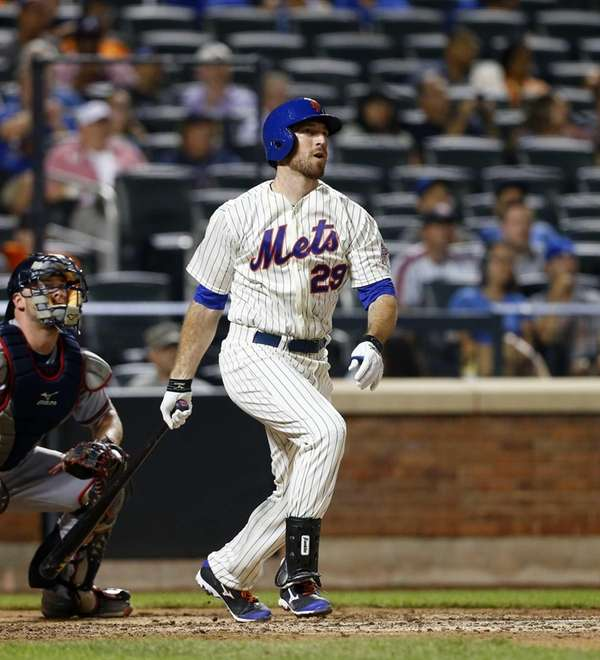 Ike Davis follows through on an RBI double