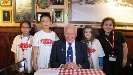 Astronaut and auther Buzz Aldrin with Kidsday reporters