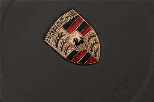 The company logo of German car manufacturer Porsche