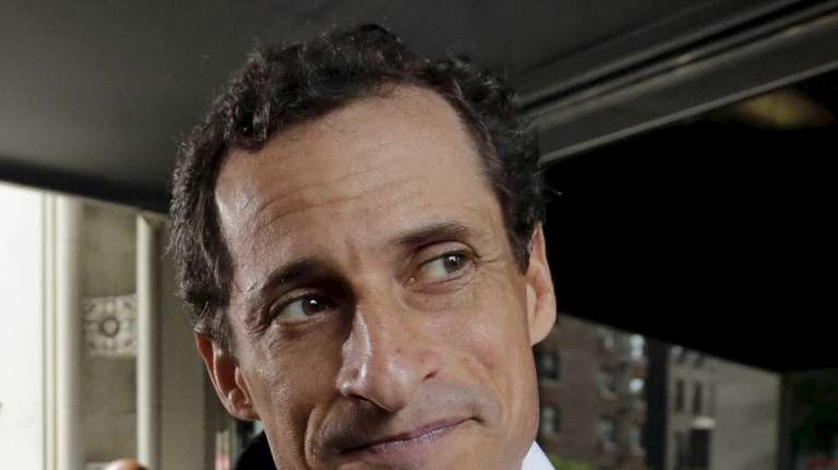 New York City mayoral candidate Anthony Weiner leaves