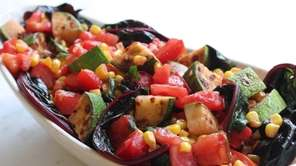 A side dish with fresh ruby chard, fresh