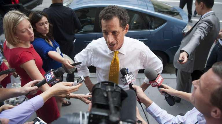 Anthony Weiner speaks to the media after he