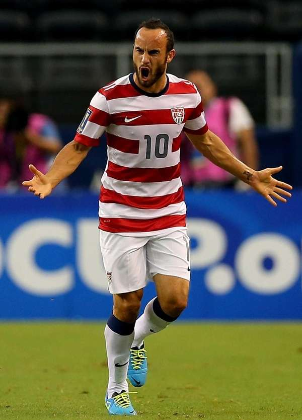 The United States' Landon Donovan celebrates his goal