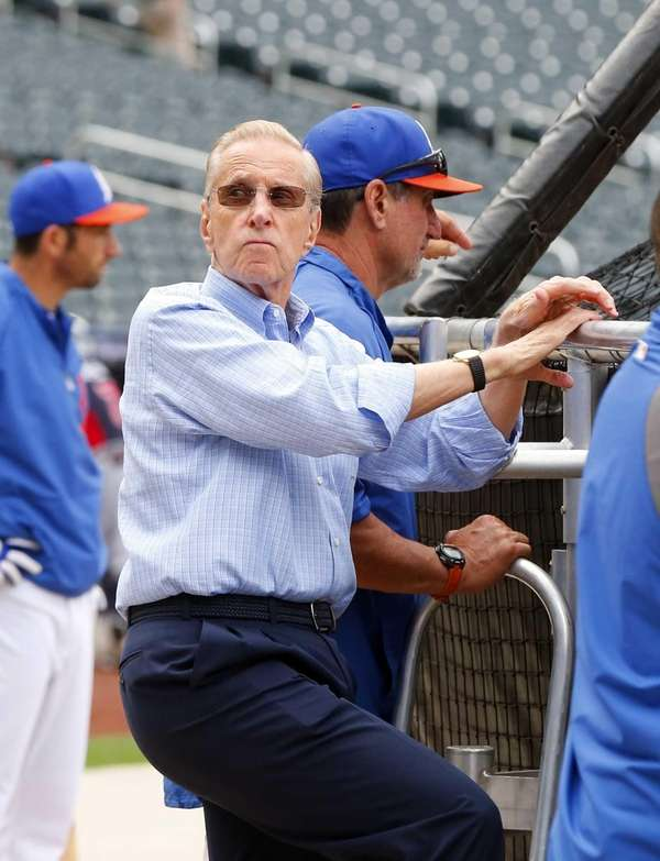 Mets majority owner Fred Wilpon looks on during