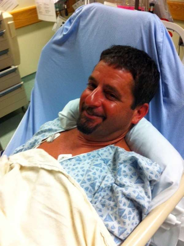 John Aldridge, a commercial fisherman from Montauk, recovers