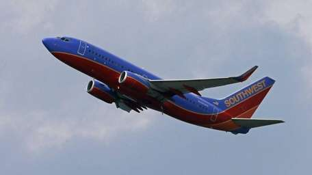 A Southwest Airlines jet takes off from Pittsburgh