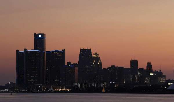 The sun sets on Detroit. (July 18, 2013)
