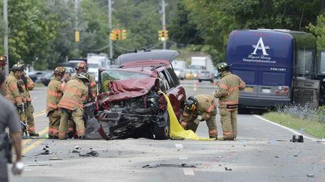 A fatal accident involving a Hampton Jitney bus