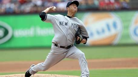 Hiroki Kuroda delivers a pitch during a game