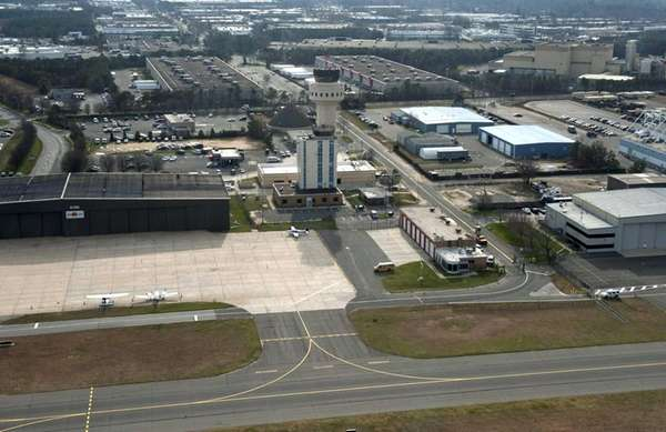 An aerial view of Long Island MacArthur Airport