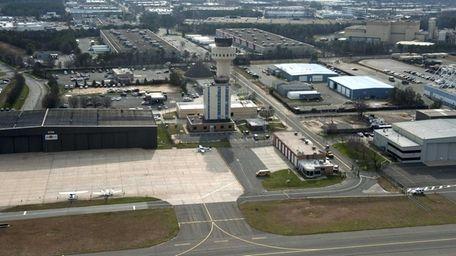 An aerial view of Long Island MacArthur Airport
