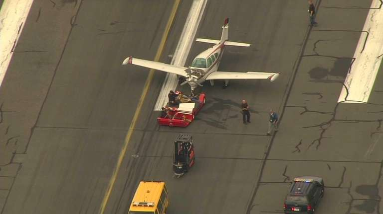 A plane was towed after a hard landing