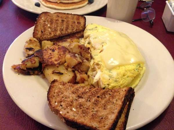 Crabmeat omelet at Javier's Cafe in Smithtown. (July