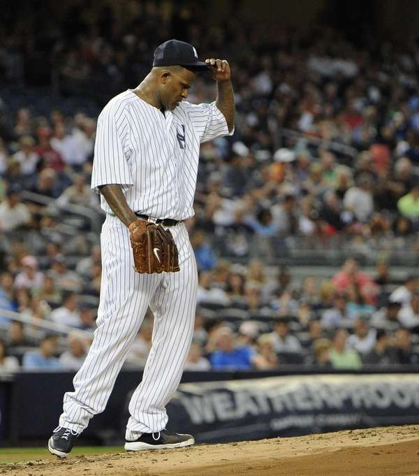 CC Sabathia reacts on the mound in the