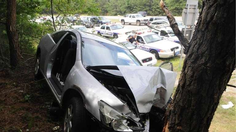 Two people were injured after slamming into tree