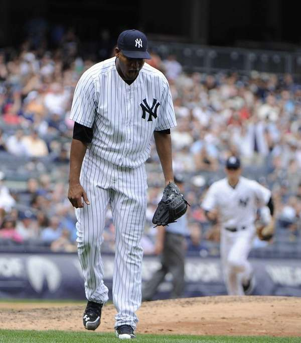 Starting pitcher Ivan Nova of the Yankees reacts