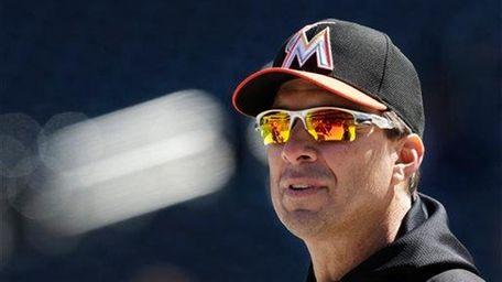 Miami Marlins hitting coach Tino Martinez watches batting